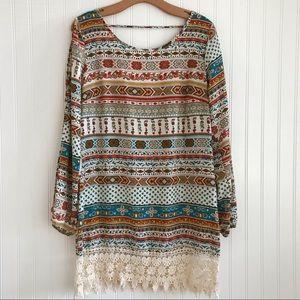 Boho Southwest Long Sleeve Tunic Dress  Large NWOT